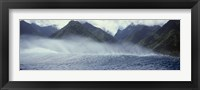 Framed Rolling waves with mountains in the background, Tahiti, Society Islands, French Polynesia