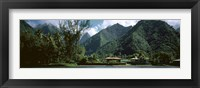 Framed Mountains and buildings at the coast, Tahiti, Society Islands, French Polynesia