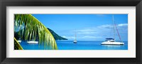 Framed Sailboats in the ocean, Tahiti, Society Islands, French Polynesia (horizontal)