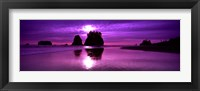 Framed Silhouette of sea stacks at sunset, Second Beach, Washington State