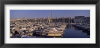 Framed Boats docked at a harbor, Marseille, Bouches-Du-Rhone, Provence-Alpes-Cote d'Azur, France