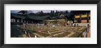 Framed Tourists at a temple, Haeinsa Temple, Kayasan Mountains, Gyeongsang Province, South Korea