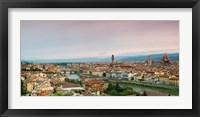 Framed Buildings in a city, Ponte Vecchio, Arno River, Duomo Santa Maria Del Fiore, Florence, Italy