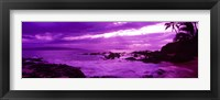 Framed Purple Sunset over the coast, Makena Beach, Maui, Hawaii
