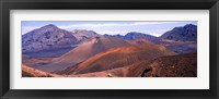 Framed Volcanic landscape with mountains in the background, Maui, Hawaii
