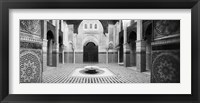 Framed Interiors of a medersa, Medersa Bou Inania, Fez, Morocco (black and white)
