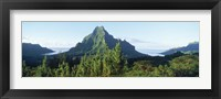 Framed Mountains at a coast, Belvedere Point, Mont Mouaroa, Opunohu Bay, Moorea, Tahiti, French Polynesia