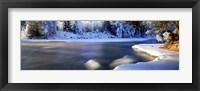 Framed Dal River in winter, Dalarna Province, Sweden