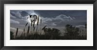 Framed Stork flying with baby in beak over moon