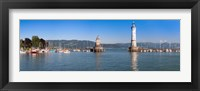 Framed Entrance of the harbor with the Bavarian lion and the lighthouse, Lindau, Lake Constance, Bavaria, Germany