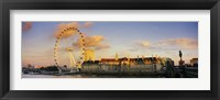 Framed Ferris wheel with buildings at waterfront, Millennium Wheel, London County Hall, Thames River, South Bank, London, England