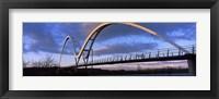 Framed Modern bridge over a river, Infinity Bridge, River Tees, Stockton-On-Tees, Cleveland, England