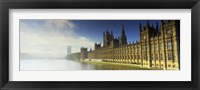 Framed Government building at the waterfront, Houses Of Parliament, Thames River, London, England