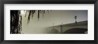 Framed Putney Bridge during fog, Thames River, London, England