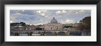 Framed Arch bridge across Tiber River with St. Peter's Basilica in the background, Rome, Lazio, Italy