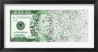 Framed One Hundred Dollar Bill turning digital