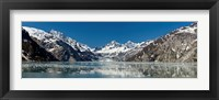 Framed Johns Hopkins Glacier in Glacier Bay National Park, Alaska, USA