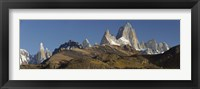 Framed Low angle view of mountains, Mt Fitzroy, Cerro Torre, Argentine Glaciers National Park, Patagonia, Argentina