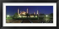 Framed Mosque lit up at night, Blue Mosque, Istanbul, Turkey