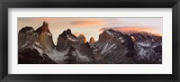 Framed Snowcapped mountain range, Paine Massif, Torres del Paine National Park, Magallanes Region, Patagonia, Chile