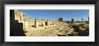 Framed Ruins of Hierapolis at Pamukkale with mountains in the background, Anatolia, Central Anatolia Region, Turkey
