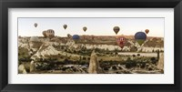 Framed Mulit colored hot air balloons at sunrise over Cappadocia, Central Anatolia Region, Turkey
