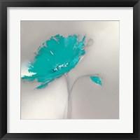 Framed Aqua Platinum Petals I