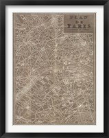 Framed Blueprint Map Paris Taupe