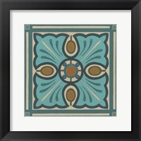 Piazza Tile in Blue I Framed Print