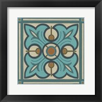Piazza Tile in Blue II Framed Print
