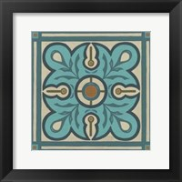 Piazza Tile in Blue III Framed Print