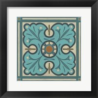 Piazza Tile in Blue IV Framed Print