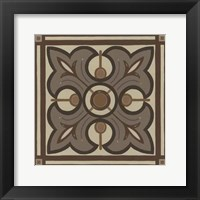 Piazza Tile in Brown II Framed Print