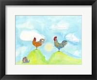 Framed Hilltop Roosters