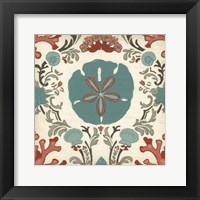 Coastal Damask I Framed Print