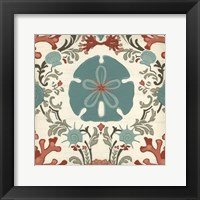 Coastal Damask II Framed Print