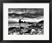Framed B&W Tide Pools & Rocks