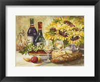 Framed Wine & Sunflowers