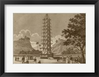 Framed Porcelain Pagoda