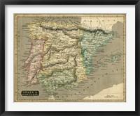 Framed Thomson's Map of Spain & Portugal