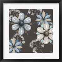 Blue Floral on Sepia I Framed Print