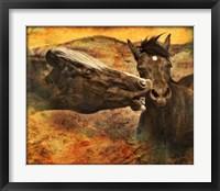 Framed Kissing Horses I