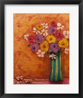 Framed Bouquet in Striped Vase
