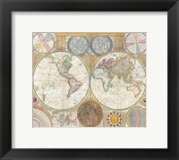 Framed 1794 Samuel Dunn Wall Map of the World in Hemispheres