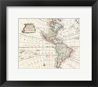 Framed 1747 Bowen Map of North America and South America