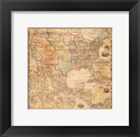 Framed 1856 Mitchell Wall Map of the United States and North America
