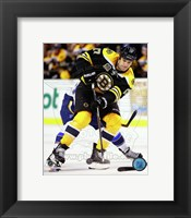 Framed Milan Lucic Hockey Puck Passing