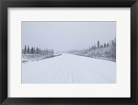 Framed Highway passing through a snow covered landscape, George Parks Highway, Denali National Park, Alaska, USA