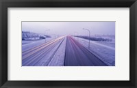 Framed Road running through a snow covered city, Reykjavik, Iceland