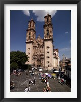 Framed Group of people in front of a cathedral, Santa Prisca Cathedral, Plaza Borda, Taxco, Guerrero, Mexico